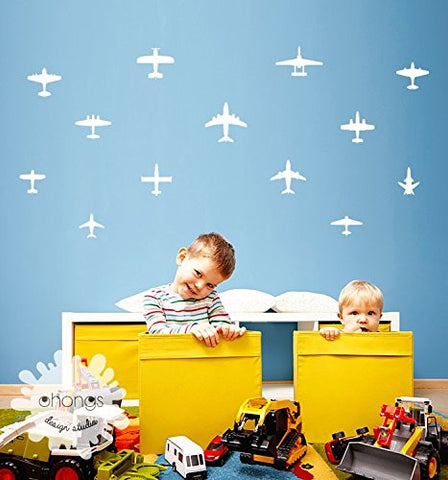 These small airplane wall decals are perfect for decorating a nursery.