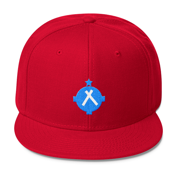 You'll be seen for miles with this bright red snapback hat with a bright blue VFR airport symbol on the front.
