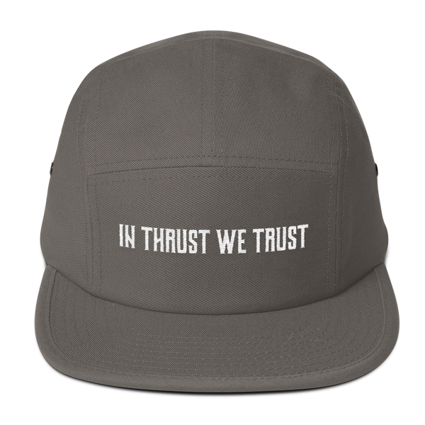 The In Thrust We Trust Gray Camper Hat is one every pilot is sure to love.