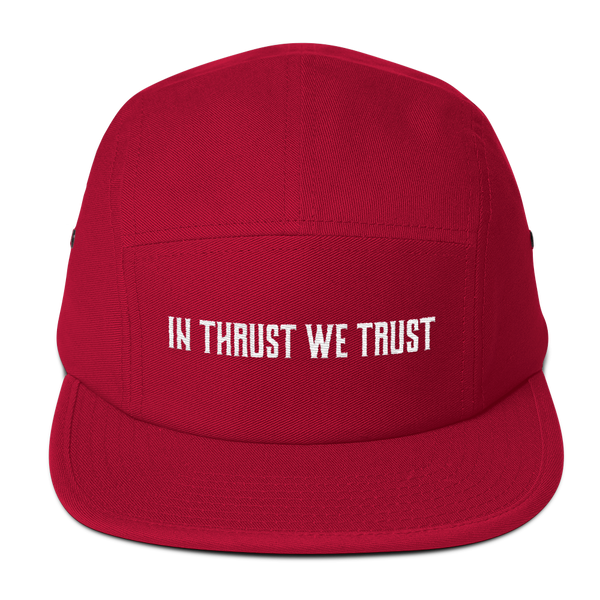 Every pilot is sure to love this In Thrust We Trust Red Camper Hat.