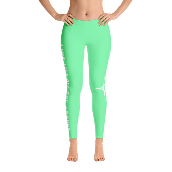 Don't you just love these aviation leggings. Live life off the ground in frosty green front view.