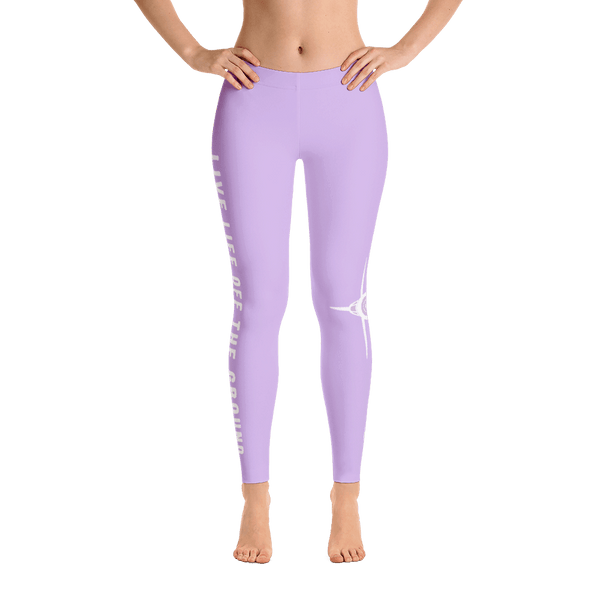 These purple airplane leggings are perfect! I love the saying on the side, Live life off the ground.