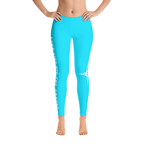 These sky blue airplane leggings are so cute. I love the quote on the side, live life off the ground.
