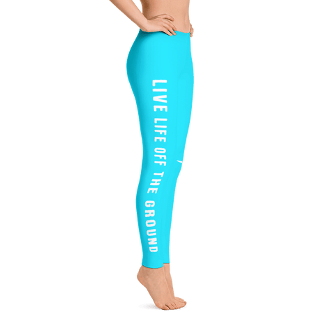 These sky blue airplane leggings are super cute and perfect for flying through the clouds.