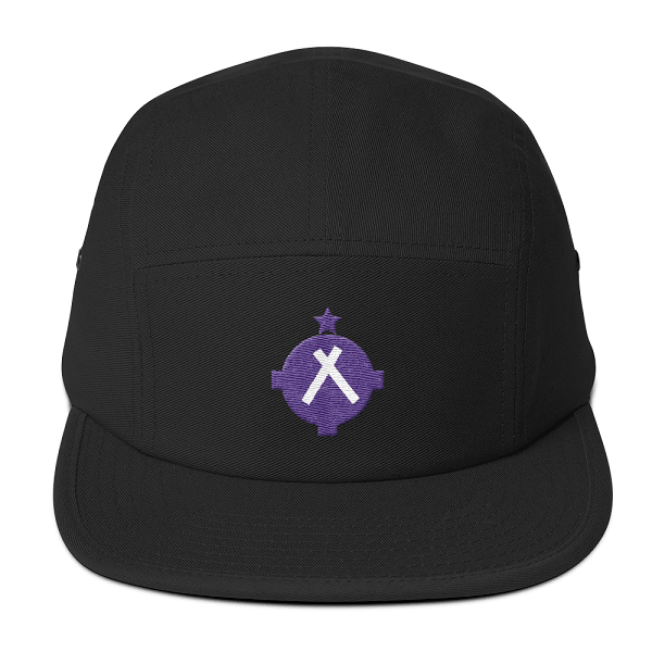 This black camper style hat has the magenta VFR symbol embroidered on the front.