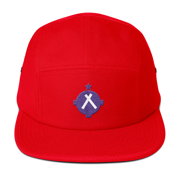You'll be seen for miles with this bright red camper hat with a bright magenta VFR airport symbol on the front.