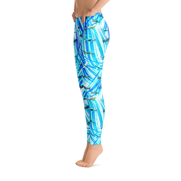 Bright Blue Mixed Planes Leggings - Side view