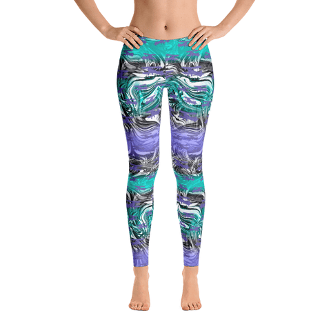 These psychedelic leggings are covered in purple biplanes. hidden in the black and white swirls and turquoise and purple stripes.