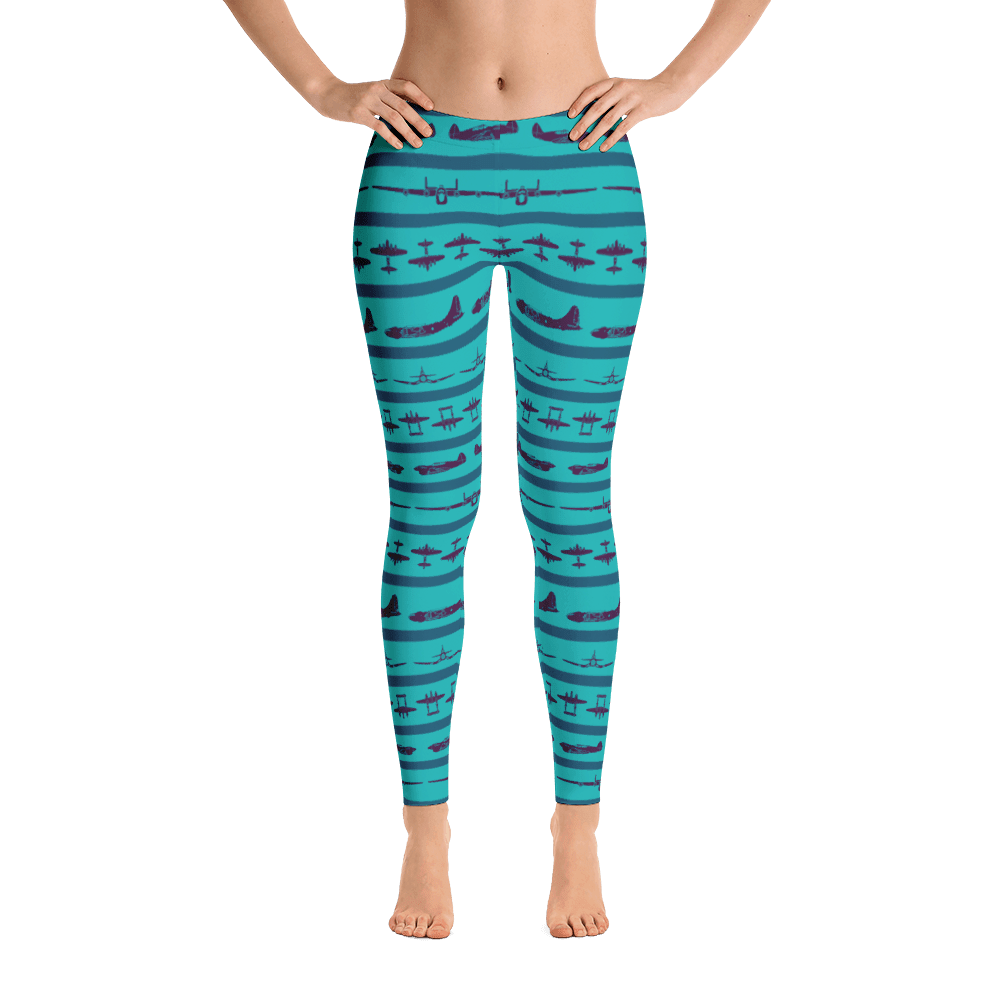 I love these turquoise airplane leggings! The purple WWII airplane all over them look amazing.!