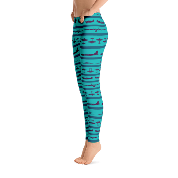 Turquoise and Purple WWII Airplane Striped Leggings - Left Side View