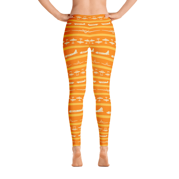 These bright orange leggings striped with WWII airplanes will look perfect when you're cruising through the skies.