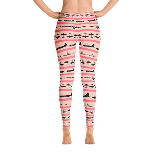 You're sure to love sporting these peach leggings covered in WWII airplane silhouettes while at your next airshow.