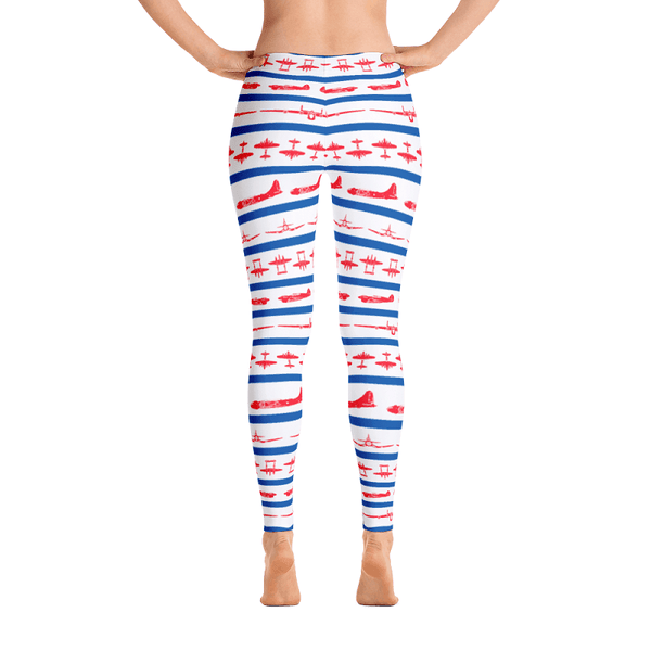 These red white and blue leggings are just what Uncle Sam ordered. Covered in iconic WWII airplanes these leggings are perfect for that 4th of July airshow.