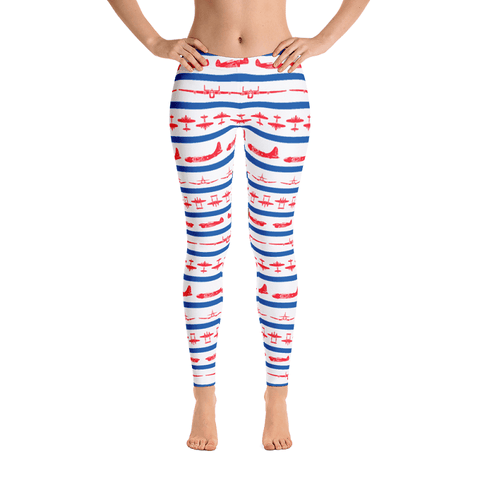 Rock these patriotic leggings covered in red WWII airplanes this 4th of July!