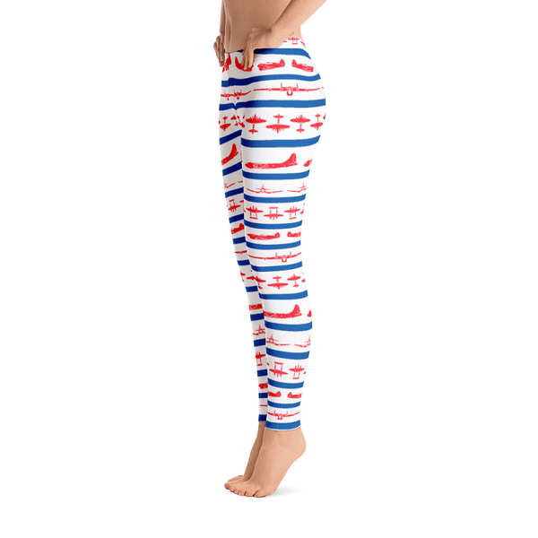 Patriotic leggings covered in WWII airplanes - Left Side View