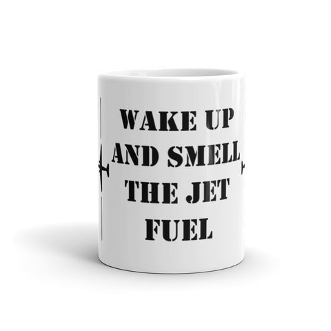 Mugs - Wake Up And Smell The Jet Fuel Mug-Stencil Font
