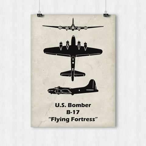 Poster - B-17 Flying Fortress Print. The B-17 was an incredible WWII bomber!