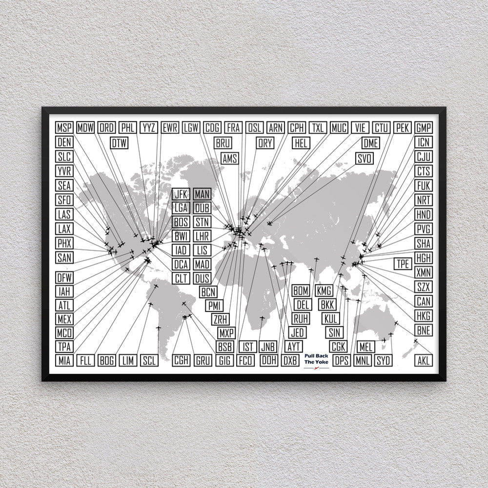 Poster - World Airports Map. I totally want to get this poster to track all the airports I've been to.