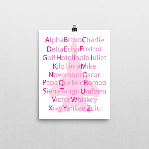 Phonetic Alphabet Print - Pink