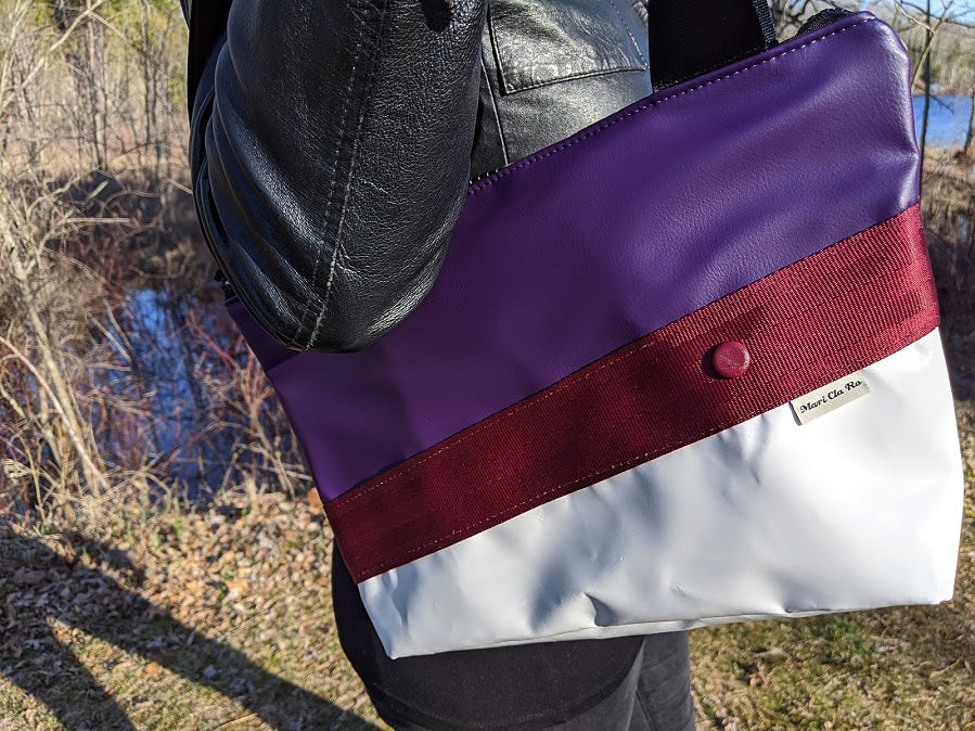 Small Chameleon Tote - Purple / Red Pattern