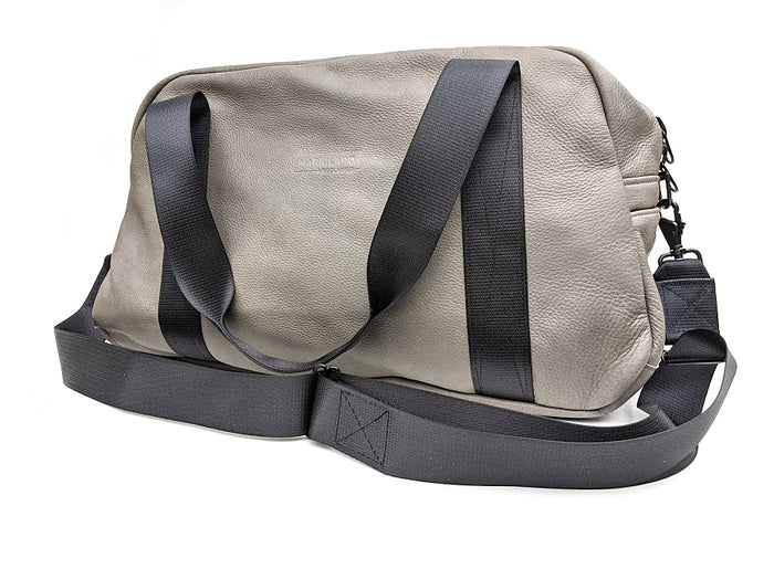 Mariclaro Leather Duffle Bag - Grey