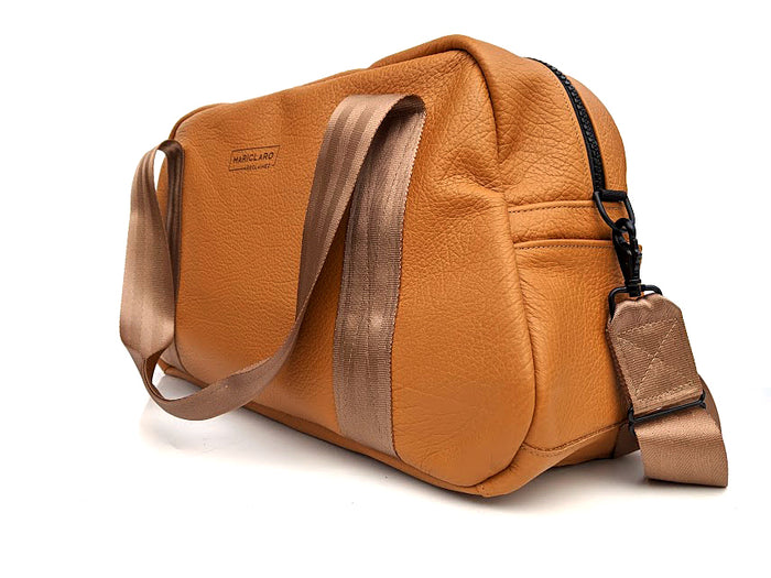 Mariclaro Leather Duffle Bag - Beige