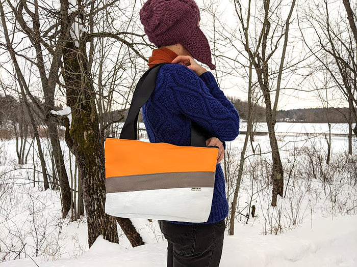 Small Chameleon Tote - Orange / Blue
