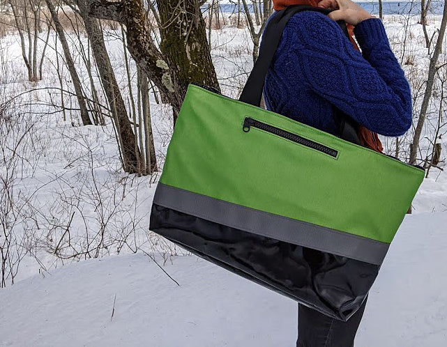 Large Chameleon Tote - Grey / Green