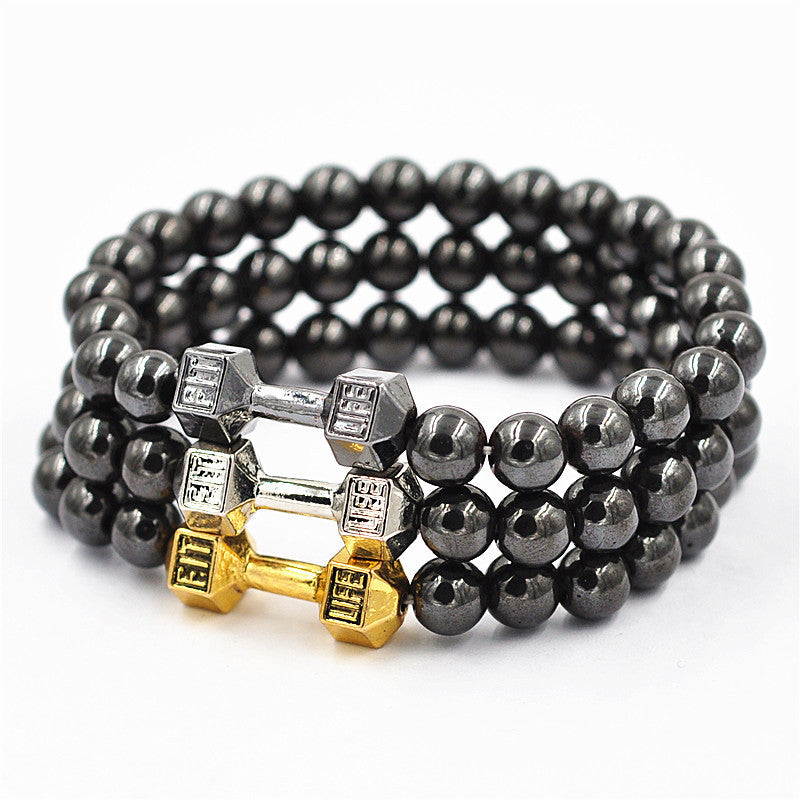 Unisex 8mm Hematite Beaded Dumbbell Bracelet