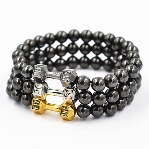 LIVE LIFT Unisex 8mm Lava Stones Beaded Dumbbell Bracelet