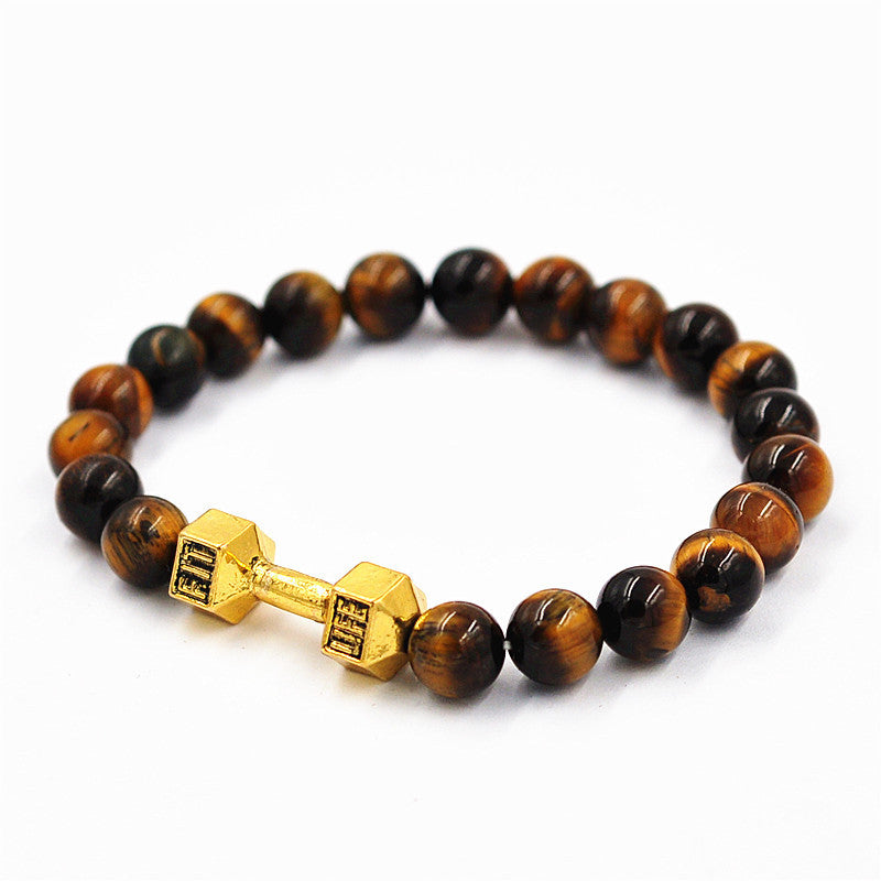 Unisex 8mm Tiger Eye Beaded Dumbbell Bracelet