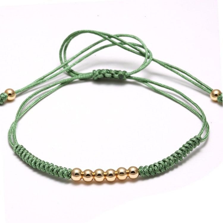 18kt Gold Plated 4mm Beaded Macrame Bracelet