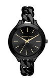 Michael Kors Women's Slim Runway Black Stainless Steel Link Bracelet Watch 42mm MK3317