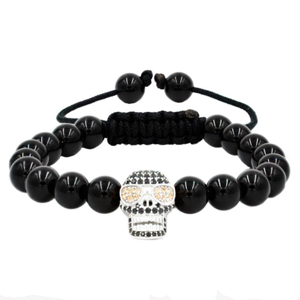 Skull Pave Charm with 8mm Black Onyx Beaded Stretchy Bracelet