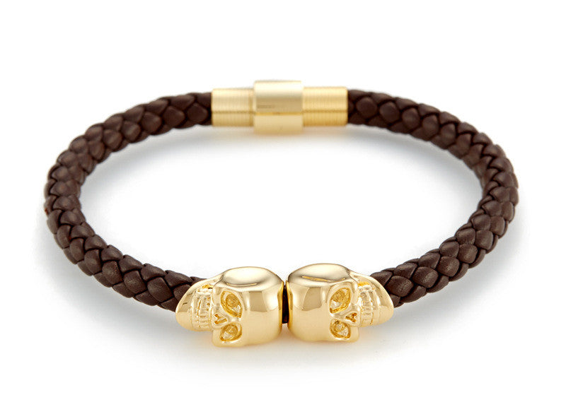 Skull Braided Leather Bracelet