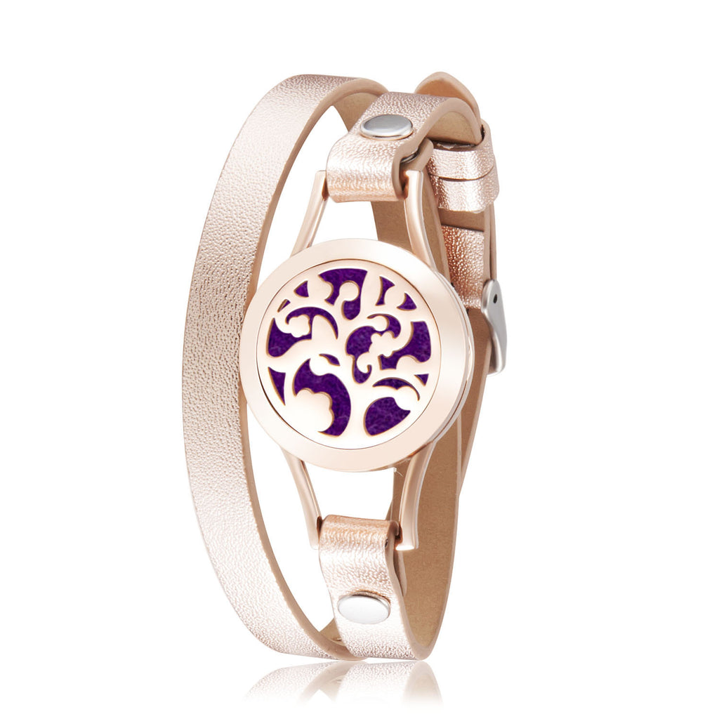 Essential Oil Diffuser Tree of Life Aromatherapy Bracelet Hypoallergenic 316L Surgical Stainless Steel with Adjustable Genuine Leather Rose Gold Bracelet and 12 Different Color Pads