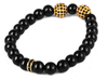 Dual 8mm Gold Zircon Disco Ball and Black Beaded Stretchy Bracelet