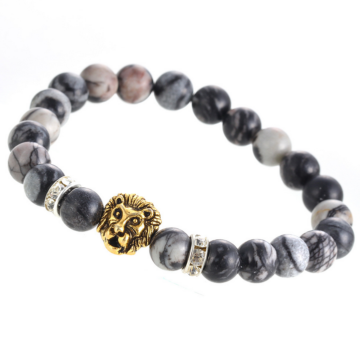 Lion 8mm Grey Jasper Beaded Bracelet