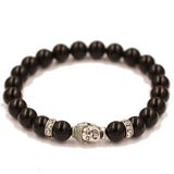 Buddha Marble with Ring of Crystals Beaded Bracelet