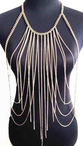 Trio Center Tassel Statement Bikini Chain Body Jewelry