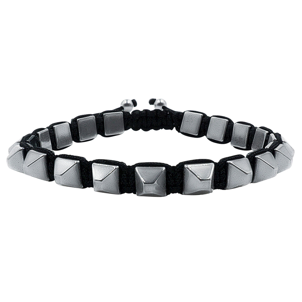 Hematite 8mm Magnetic Beaded Bracelet with Adjustable Rope - Pyramid - Black
