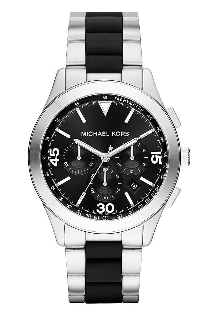 Michael Kors Men's Gareth Chronograph Black Dial Stainless Steel Black Silicone Watch 43mm MK8452