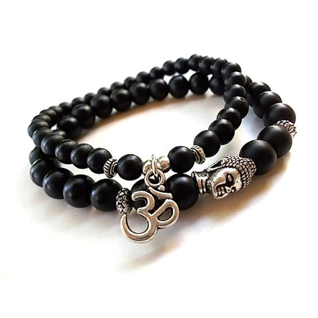 Double Mediation OM and Buddha Matte Black Beaded Bracelet