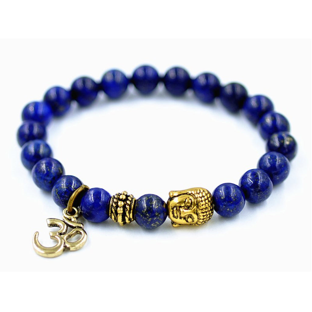 Mediation OM and Buddha Blue Lapis Lazuli Beaded Bracelet