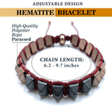 Hematite 8mm Magnetic Beaded Bracelet with Adjustable Rope - Pyramid - Grey/Copper
