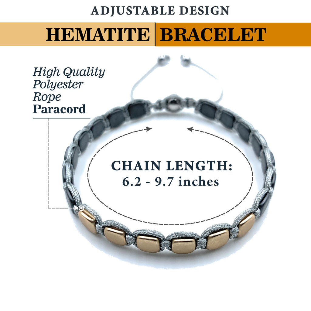 Hematite 8mm Magnetic Beaded Bracelet with Adjustable Rope - Square - Gold/Grey