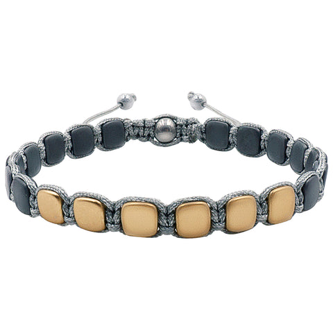 Hematite 8mm Magnetic Beaded Bracelet with Adjustable Rope - Pyramid - Gold/Grey