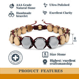 Hematite 8mm Magnetic Beaded Bracelet with Adjustable Rope - Hexagon - Grey/Copper