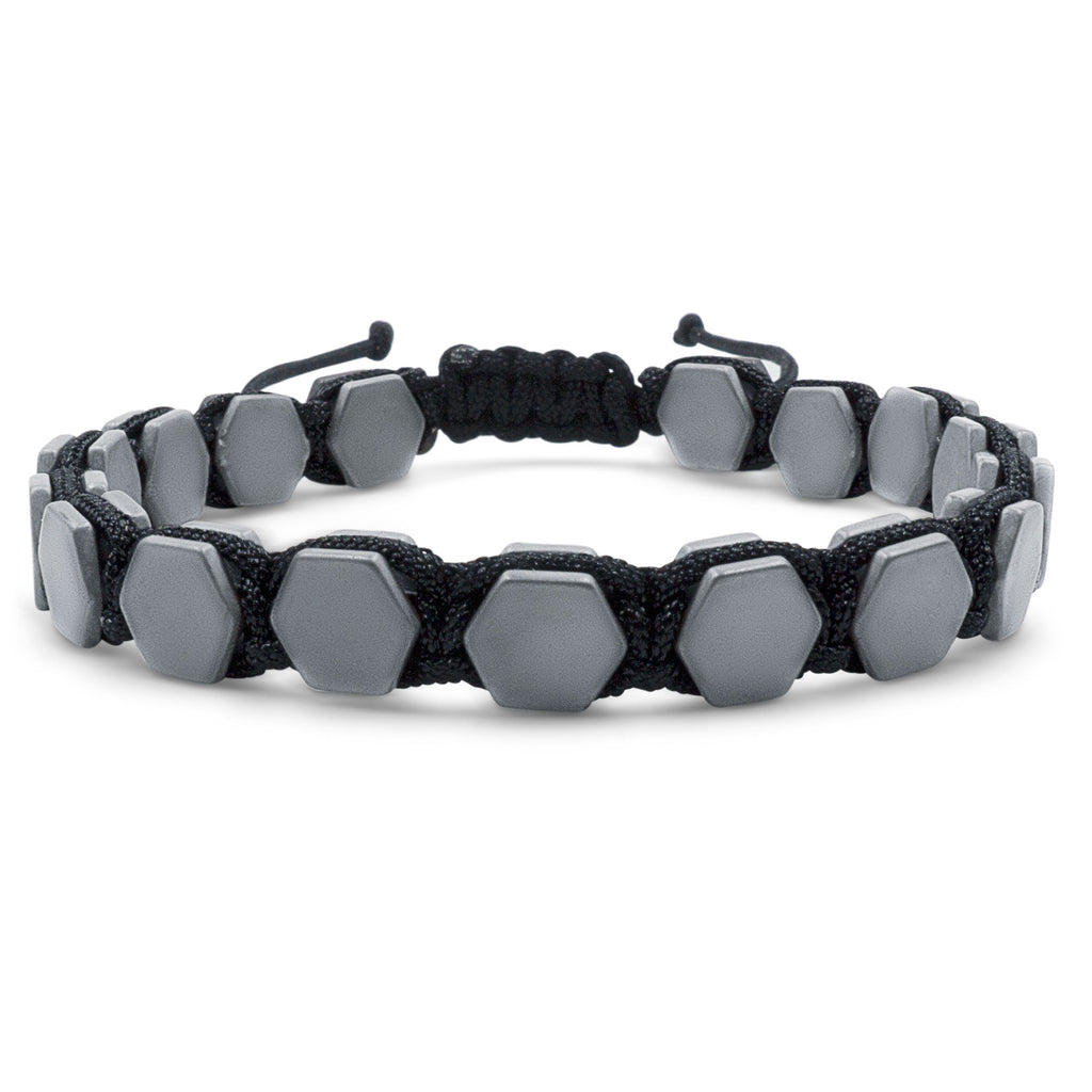 Hematite 8mm Magnetic Beaded Bracelet with Adjustable Rope - Hexagon - Gray