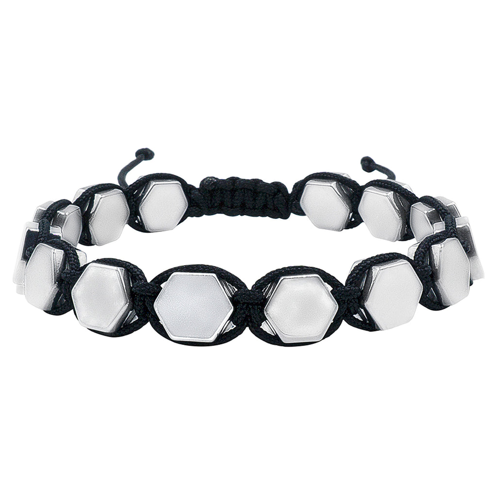 Hematite 8mm Magnetic Beaded Bracelet with Adjustable Rope - Hexagon - Stainless Steel